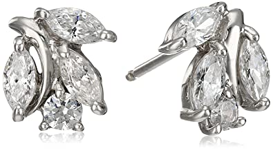 e5c687ed14803 Platinum-Plated Sterling Silver Swarovski Zirconia Marquise Round Stud  Earrings
