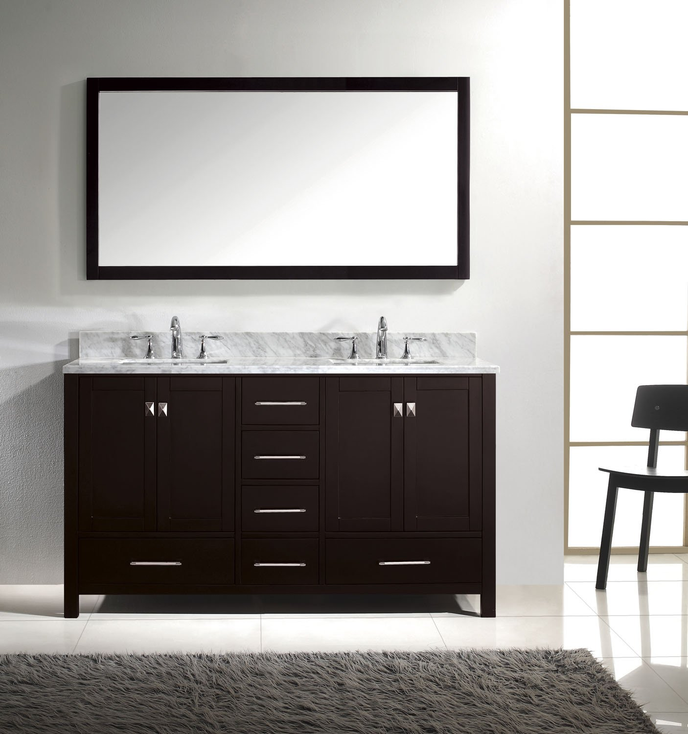 Virtu USA GD-50060-WMSQ-ES Caroline Avenue 60-Inch Bathroom Vanity ...