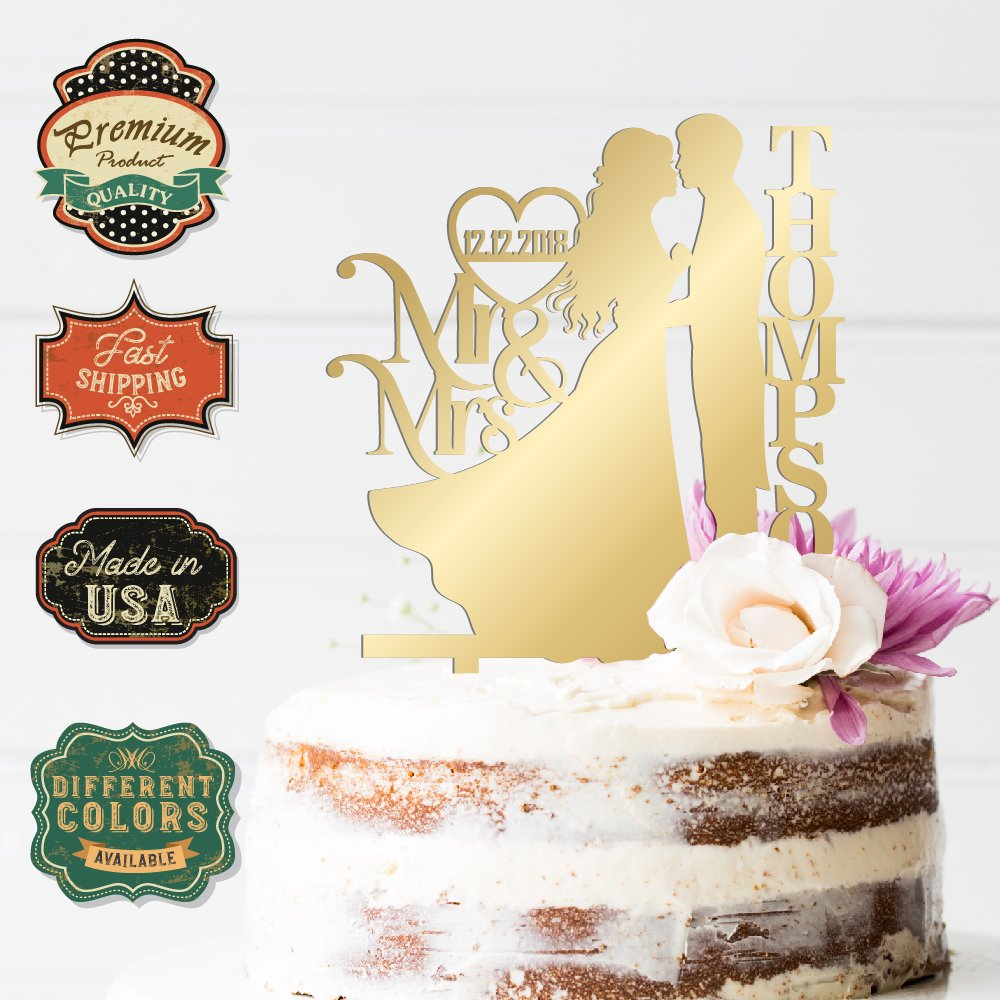Amazon.com: Family Anniversary Wedding Cake Topper Bride, Groom and ...