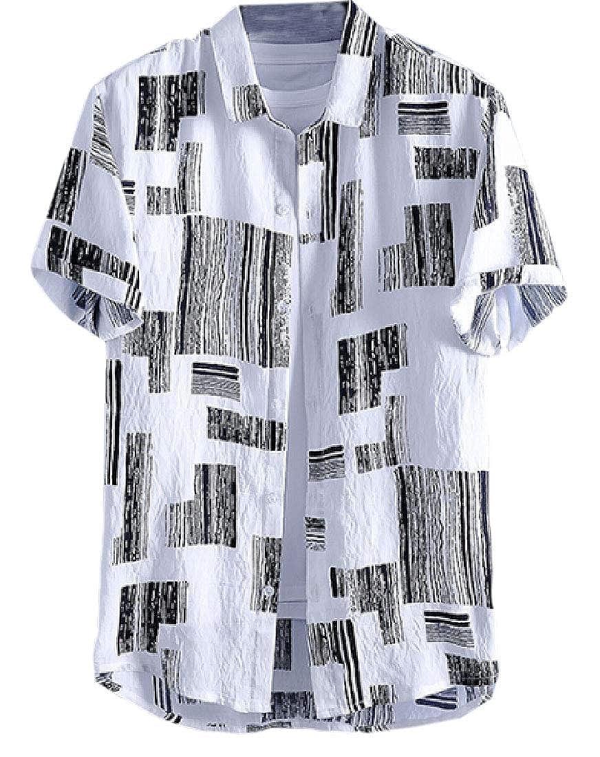 Xswsy XG Mens Lightweight Cotton Linen Button Down Short Sleeve Shirt