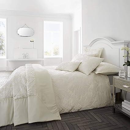 Copripiumino Elegante.Happy Linen Company Luxury Jacquard Floral Damask Flock Ivory