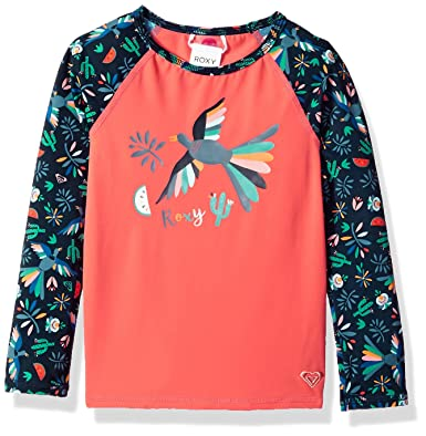 1f2678b915b0 Roxy Little Girls' Birdy Long Sleeve Rashguard, Dress Blue Bird in The Sky,