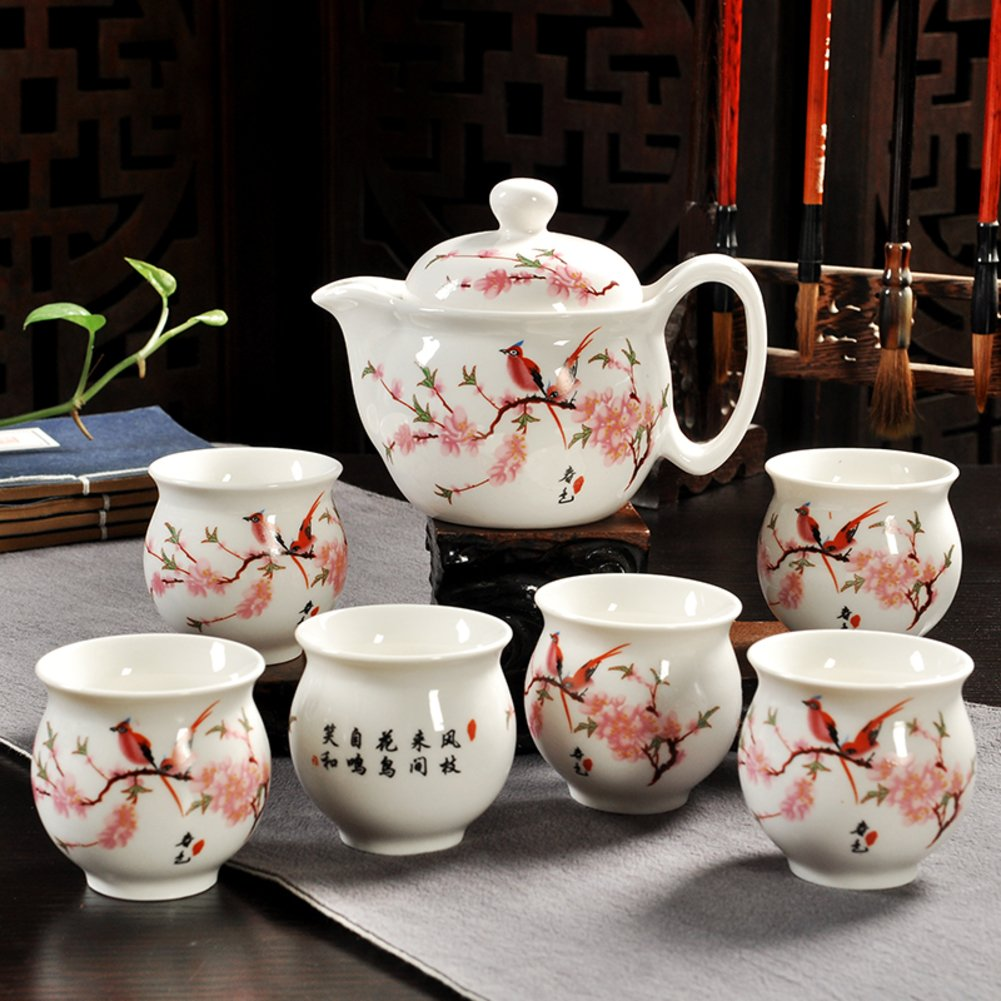 Tea set,Chinese ceramic cups Stainless steel filter Large capacity [household] Office tea 1 teapot 6 cup-E