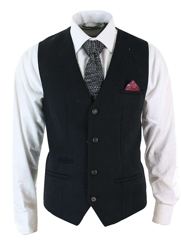 Mens Tweed Felt Retro Waistcoat Black Oak Brown Smart Casual Tailored Fit