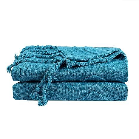 Piccocasa 100% Cotton Knit Throw Blanket,lightweight Solid Decorative Sofa Throw Home Decor
