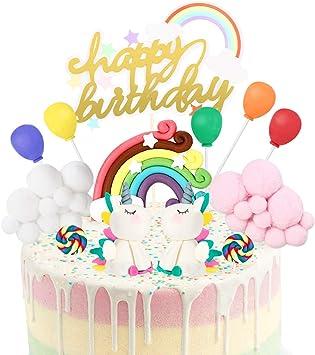 Happy Birthday Cake Topper pour Enfant Fille D/écorations de G/âteau Nuages Ballons et Sucettes joylink Cake Topper Kit Decoration Gateau avec G/âteau dAnniversaire avec Arc-en-ciel