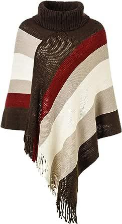 Ferand Poncho de Las Mujeres suéter de Punto de Diseño Envolvente con Flecos