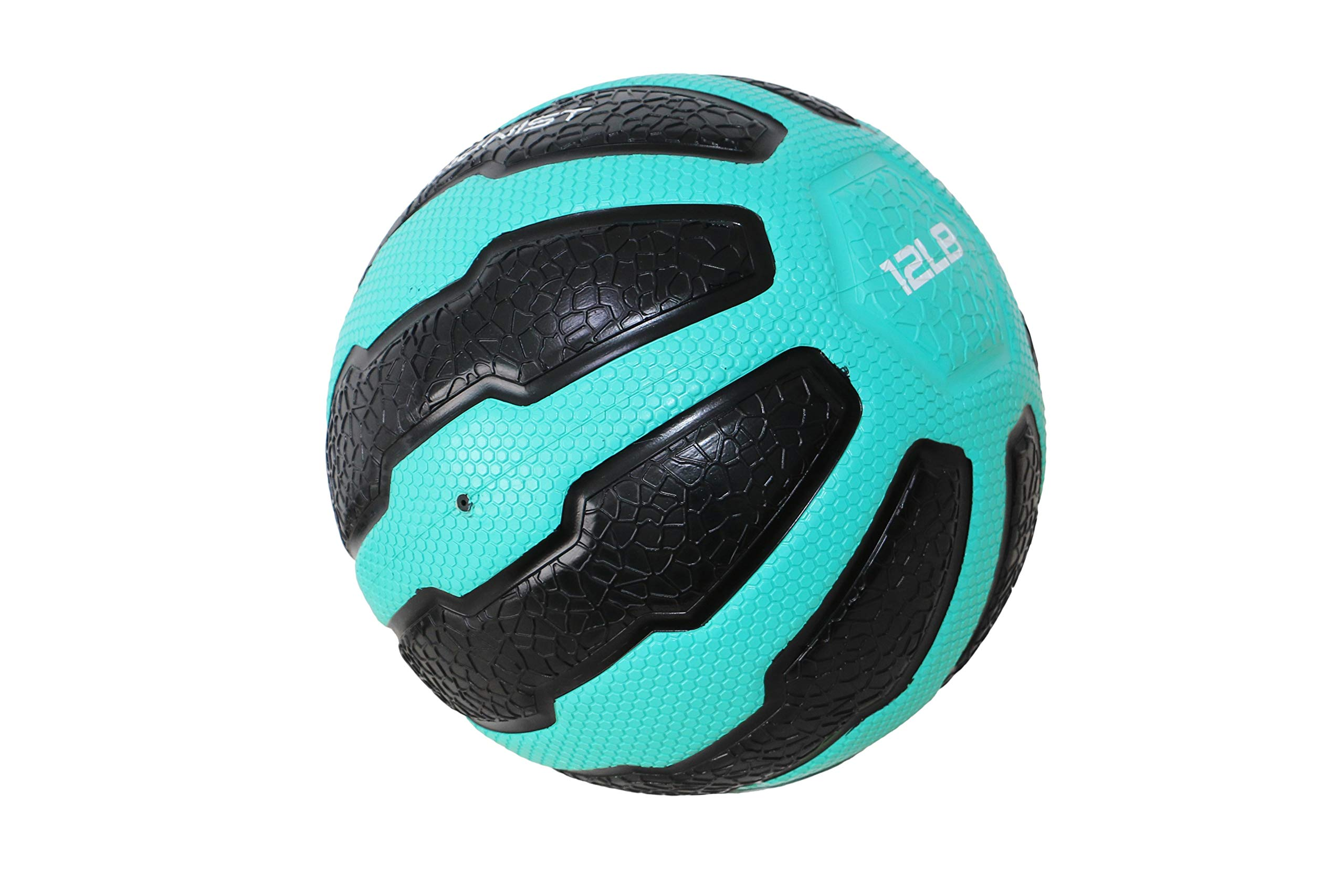 GYMENIST Rubber Medicine Ball with Textured Grip, Available in 9 Sizes, 2-20 LB, Weighted Fitness Balls,Improves Balance and Flexibility - Great for Gym, Workouts, (12 lb (Teal-Black))