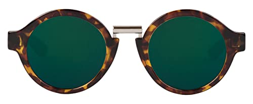 MR.BOHO Cheetah Tortoise Hackney with Dark Green Lenses, Occhiali da Sole Unisex-Adulto, Taglia Unic...
