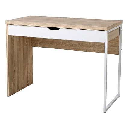 Amazon.com: HomCom Modern Wood Steel Computer Desk Writing Table w ...