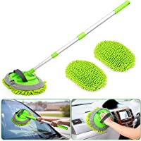 UNEEDE 2 in 1 Chenille Microfiber Car Wash Mop Mitt with Aluminum Alloy Long Handle, Adjustable Car Wash Scratch Free…