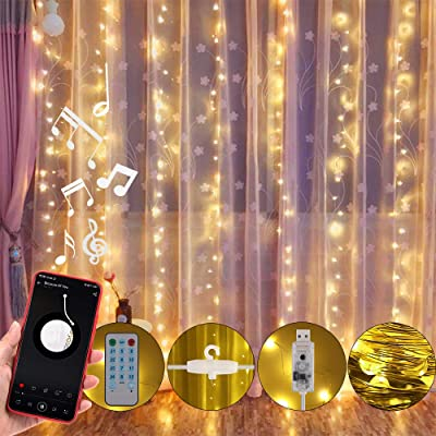 Anpro LED Curtain Light with Voice Activated, USB Powered 310 LED Fairy String Lights for Christmas Party Wedding Decorations, Remote Including Sync-to-Music Setting : Garden & Outdoor