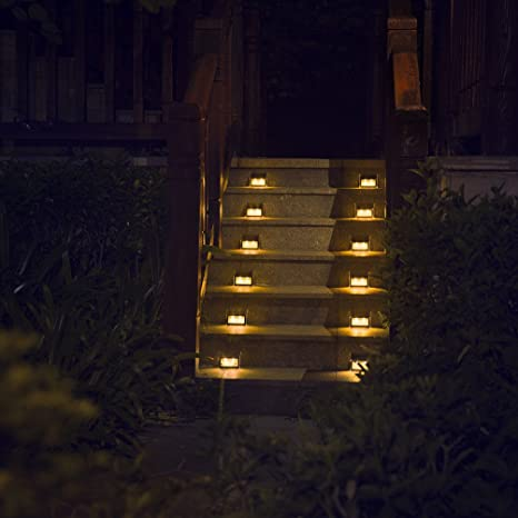 Outdoor Stair Lights Amazon warm light solar lights for steps decks pathway yard warm light solar lights for steps decks pathway yard stairs fences led lamp workwithnaturefo
