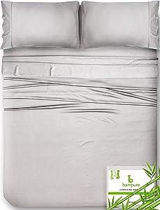 Bamboo Sheets King Size Sheets - 100% Organic Bamboo King Sheets Cooling Sheets King Deep Pocket King Bed Sheets King Size Sheet Set King Size Bed Sheets Extra Deep Pocket King Sheets Light Gray