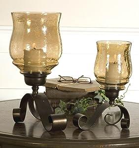 Intelligent Design Iron Scroll Amber Glass Candle Holder Pair   Old World Hurricane Set