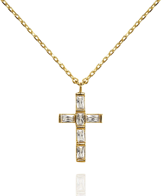 namana Collar con Colgante en Cruz con Piedras. Colgante Chapado en Oro o en Plata. Colgante Religioso con Caja de Regalo.