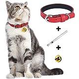 Lumimiかわいいペットの猫の首輪キティの首輪子犬の犬の首輪、20-27cmの丈夫で安全な調整可能な長さのきれいな 本革、ギフトとしてベルとホールパンチャー、多色赤黒ピンク青