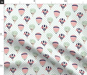Spoonflower Fabric - Old Balloons Hot Air Balloon Navy Coral Mint Nursery Pastel Pink Green Printed on Denim Fabric by The Yard - Bottomweight Apparel Home Decor Upholstery