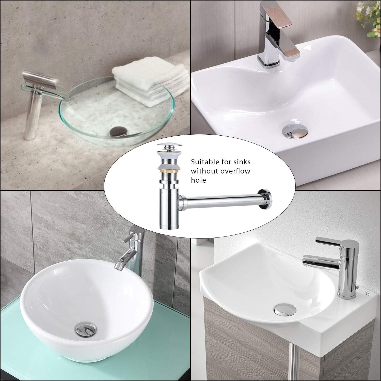 LA BOUTTIE Pop-up Drain Without Overflow for Vessel Sinks Bathroom Faucet Vanity Brushed Nickel
