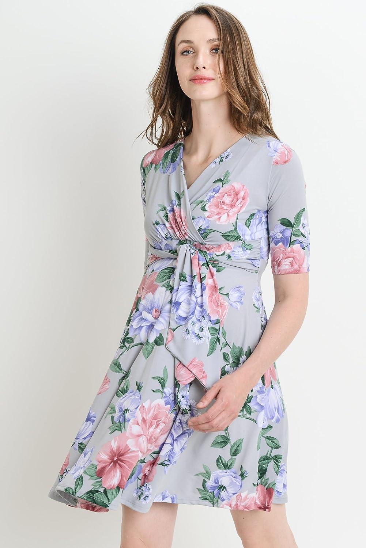 Small, Grey Flower HELLO MIZ Womens Maternity Wrap Dress with Front Tie Belt