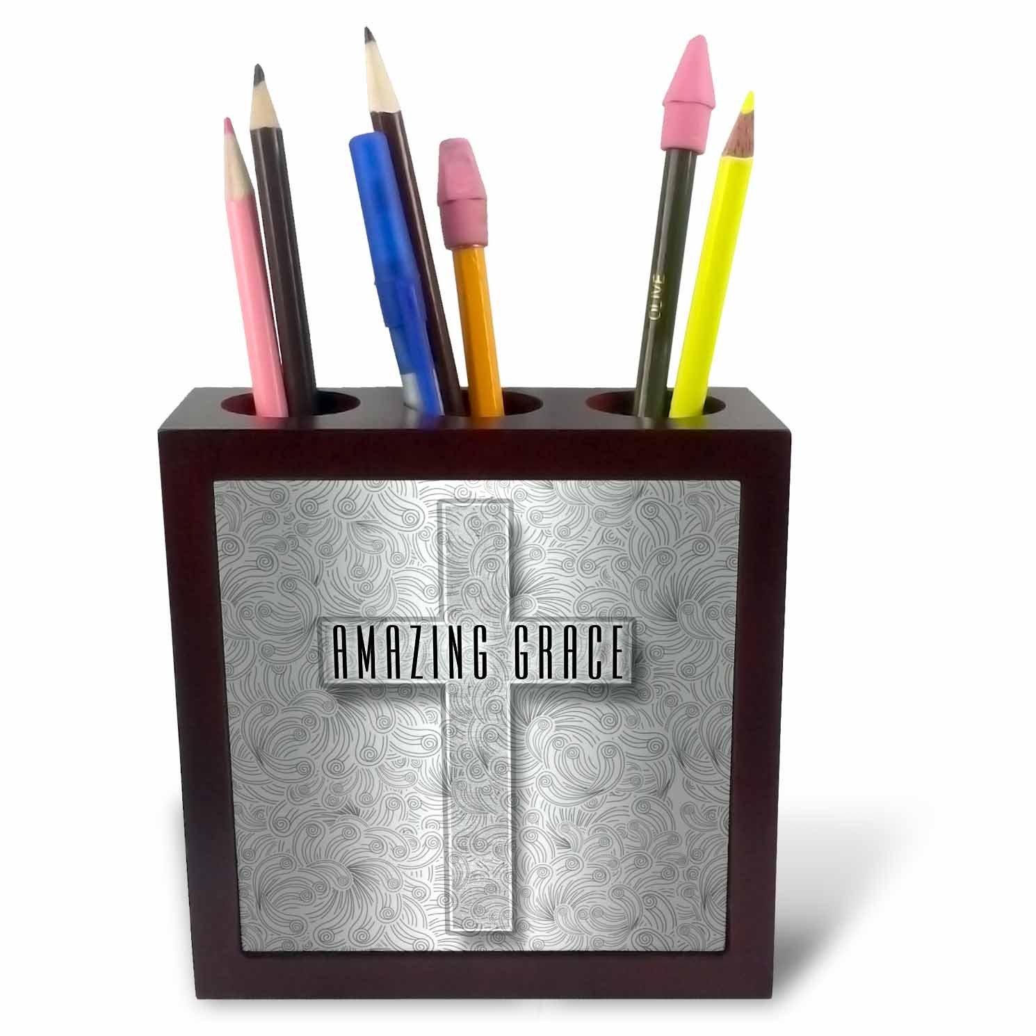 3dRose Doreen Erhardt Inspirational - Amazing Grace Silver Christian Cross with Swirls Elegant and Simple - 5 inch tile pen holder (ph_264281_1)