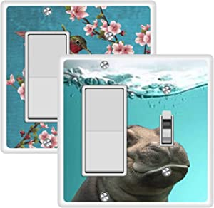 KANGHAR Wallplates Hummingbird Painting Funny hippo Square Single Decor+Single Toggle White Outlet Wall Plate Cover