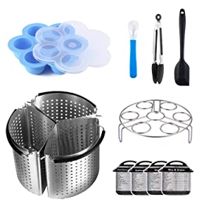 12 Accessories Compatible with Instant Pot Pressure Cooker 6 qt [8qt avail] - Divided Steamer Basket, Egg Rack,Egg Bites Mold,Silicone Spoon,Magnetic Cheat Sheets, Kitchen Food Tongs,Silicone Spatula
