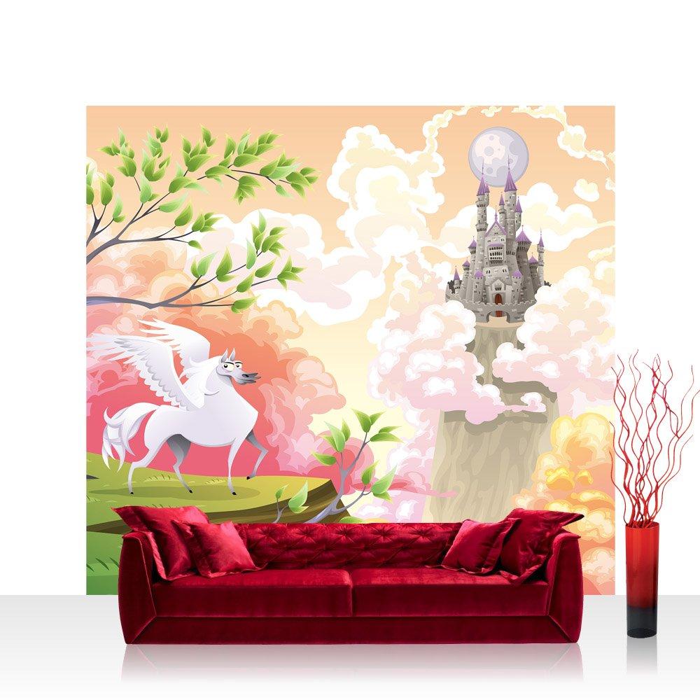 Vlies Fototapete 350x245 cm PREMIUM PLUS Wand Foto Foto Foto Tapete Wand Bild Vliestapete - MAGIC PEGASUS - Kinderzimmer Kindertapete Mädchen Einhorn Märchen Pastell - no. 086 48bc46