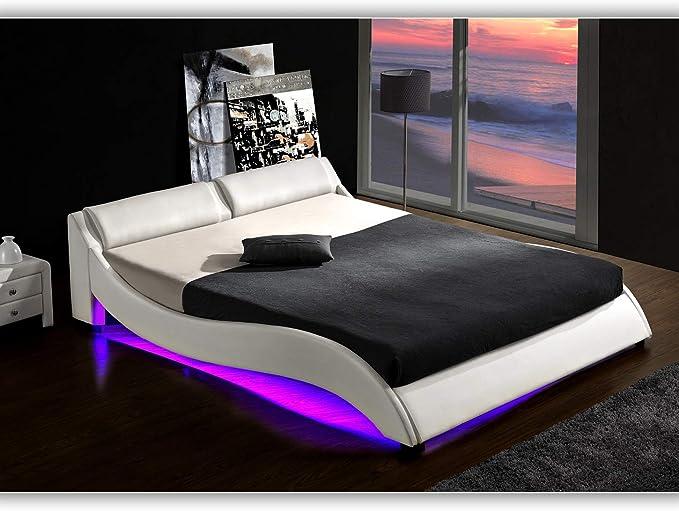 DI-LIFESTYLE Texas Blanco Cama de Matrimonio tapizada LED subsuelo iluminación somier Piel sintética