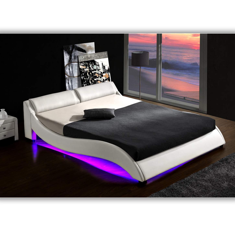 muebles bonitos Letto Matrimoniale Moderno di Design Alessia Bianco Rivestito in Ecopelle per Materasso da 160x190cm con Rete Incluse