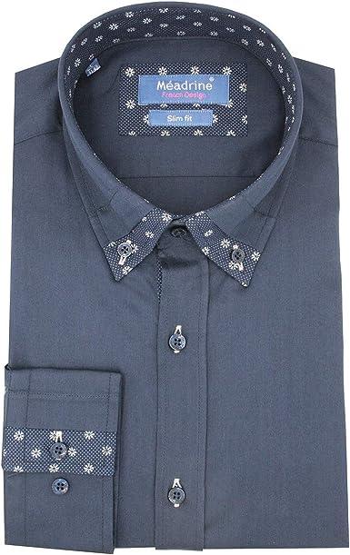 Camisa Azul Marino con Cuello de fantasía: Amazon.es: Ropa y accesorios