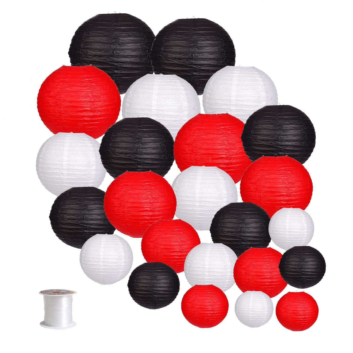 24pcs Round Paper Lanterns for Wedding Birthday Party Baby Showers Decoration Black/Red