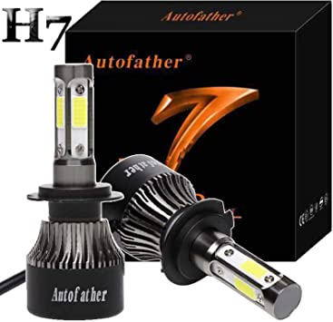 LED H7 Car Headlight Bulbs 160W 4-Side Chips Lamp Replace HID Xenon Bulbs 6000K White Super Bright 5 Year Warranty