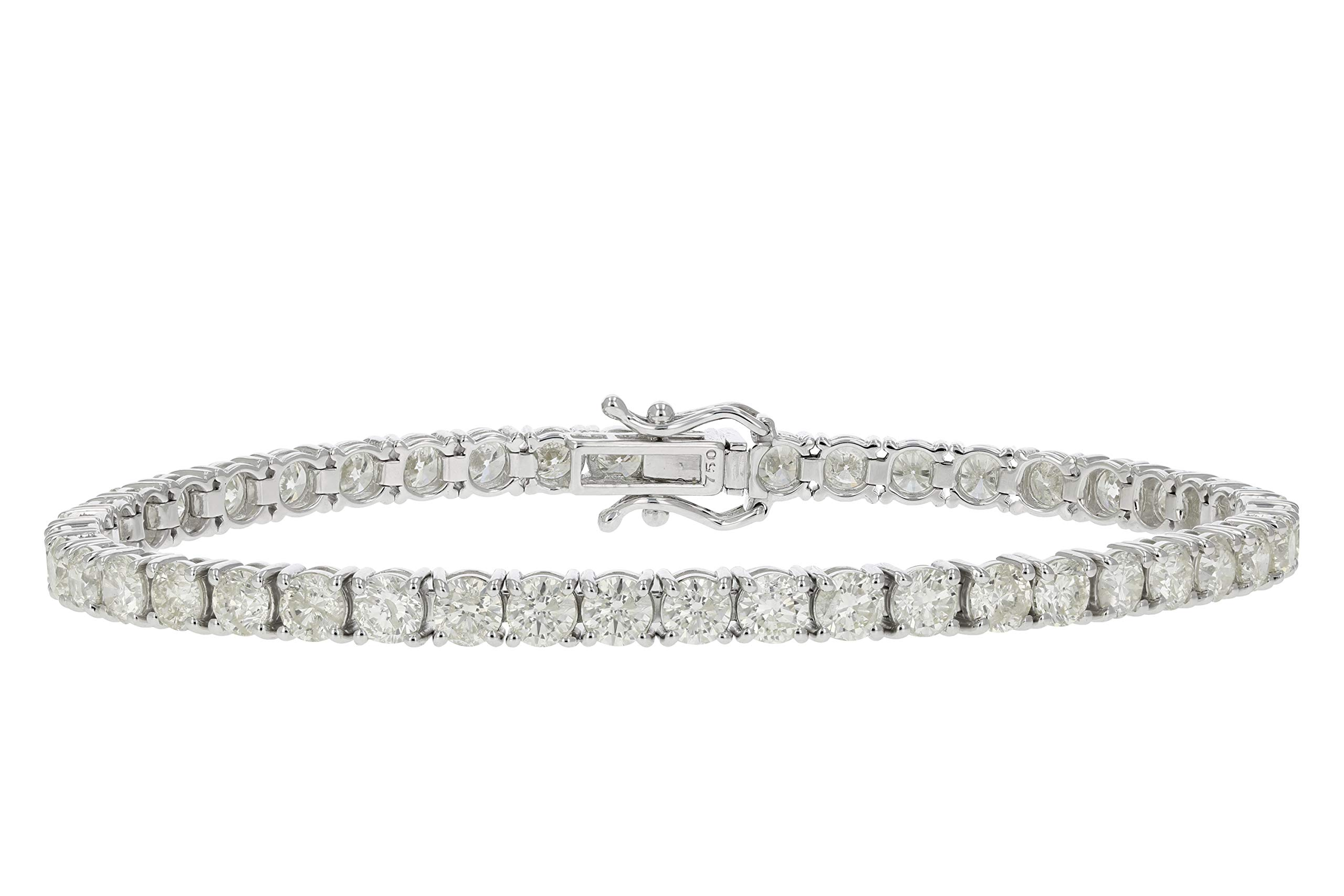 8 cttw Certified Classic Tennis Diamond Bracelet 14K White Gold I1-I2 Clarity K-L Color by Vir Jewels