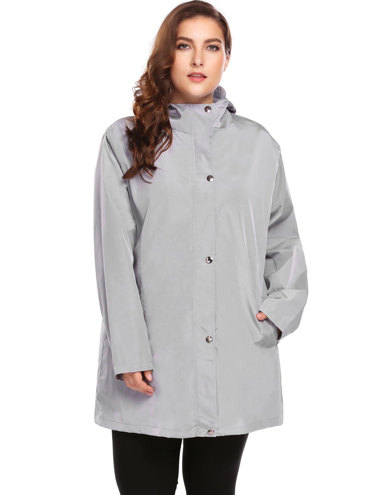 IN'VOLAND Womens Plus Size Lightweight Windbreaker Raincoat Travel Rain Jacket Windproof Hiking Portable Waterproof Coat