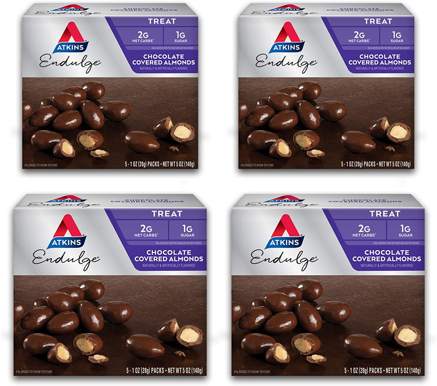 Atkins Endulge Treat Chocolate Covered Almonds. Rich & Crunchy. Keto-Friendly. (20 Pouches)
