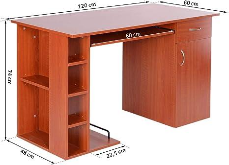 HOMCOM Mesa de Ordenador PC 120x60x74cm Oficina Despacho Hogar ...