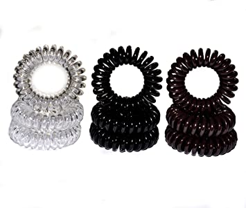 Miya® Set of 9 Superior Hair Scrunchie in Black Brown and Crystal Clear  Plastic Mini d30ad469fbc