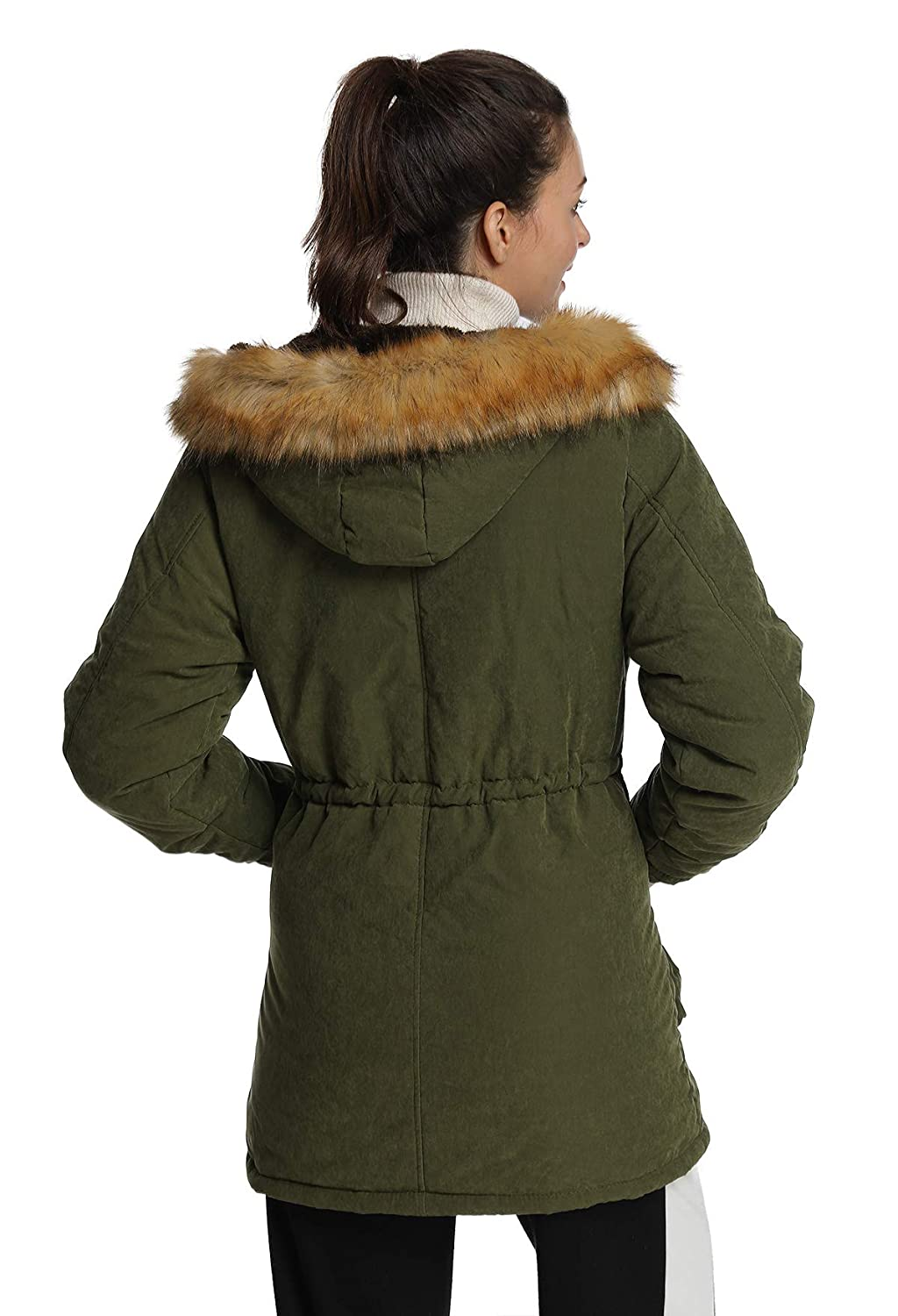 b62decfeae Amazon.com: 4HOW Womens Hooded Warm Parkas Jacket Lined Faux Fur Military  Winter Coat: Clothing