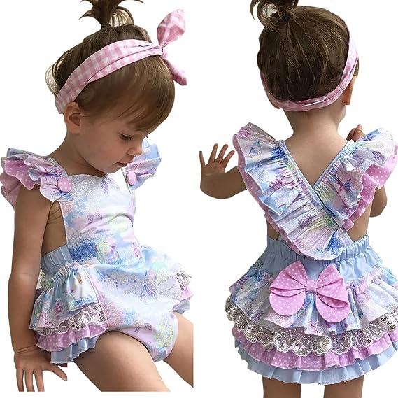ba24f99ec6ab Amazon.com  WANGSCANIS Baby Girls Ruffles Romper Bodysuit Dresses Summer  Clothing  Clothing