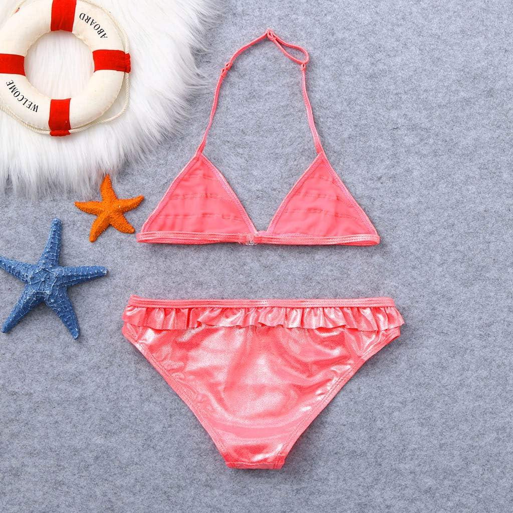 Nevera Toddler Baby Kids Girls Ruffles Solid Sparkle Summer Swimwear Swimsuit Bikini Outfits