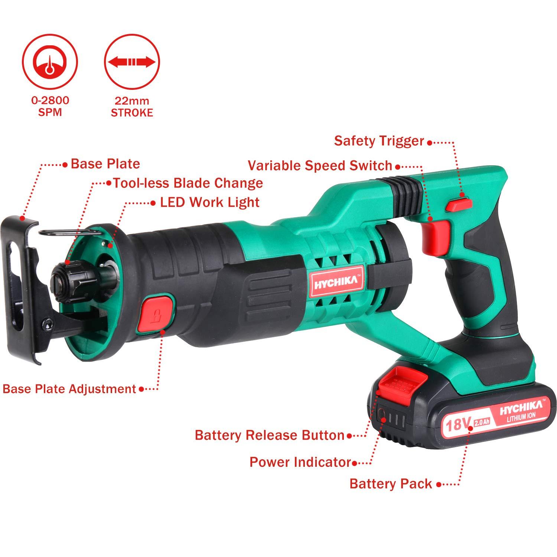HYCHIKA Sierra Inal/ámbrica luz LED 2 Bater/ías 2000 mAh 6 Hojas de Sierra Sierra Rec/íproca 18V Cargador R/ápido de 1 Hora Ideal para Cortar Madera y Metal Velocidad Variable de 0-2800 rpm
