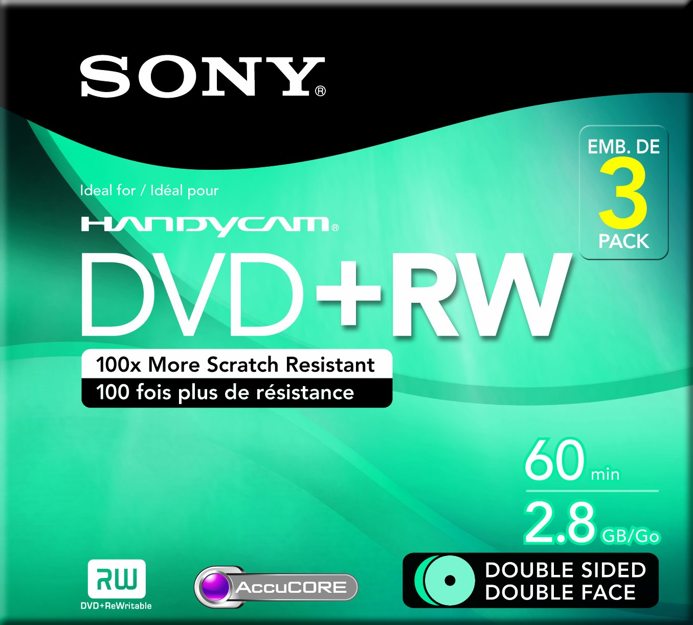 Sony 3DPW60DSR2H 8cm Double-Sided DVD plus RW 3-Pack with Hang Tab (Discontinued by Manufacturer)