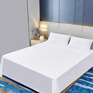 Allo Twin Size Flat Sheet Only, White Sheets Brushed Microfiber 1800 Bedding Top Sheet, Ultra Soft Bed Flat Sheets with Stylish 4 in Hem - Wrinkle, Fade, Stain Resistant, Hypoallergenic - 1 Piece