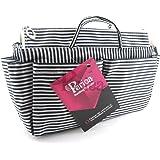 Periea Organiseur de sac à main (GRAND modèle) 13 Compartiments + mousqueton GRATUIT à rayures Noires et Blanches - Chrissy