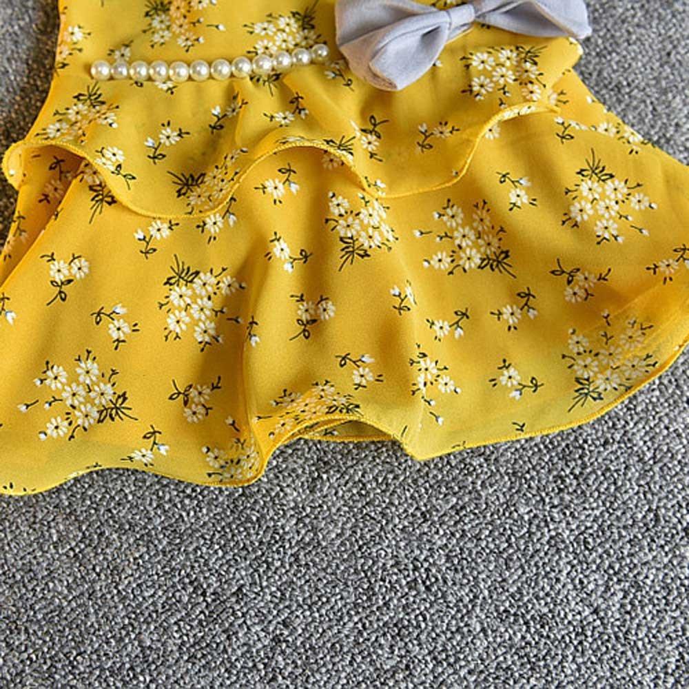 Ginli Abbigliamento Bambini,Vestiti Per Bambini Pantaloncini 3Pcs Toddler Baby Kid Girl Outfit Abbigliamento T-Shirt Con Gilet Floreale Pantaloni Cappello Per Il Sole
