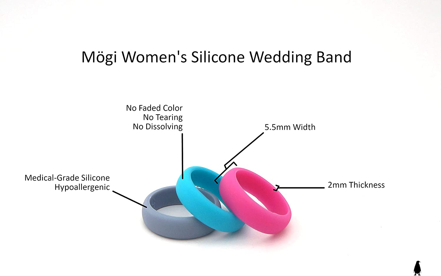 Fitness Ring M/ögi Rubber Wedding Bands Single Black or Set of 3-2mm Thickness Silicone Rings for Women Silicone Wedding Rings Womens Silicone Wedding Band