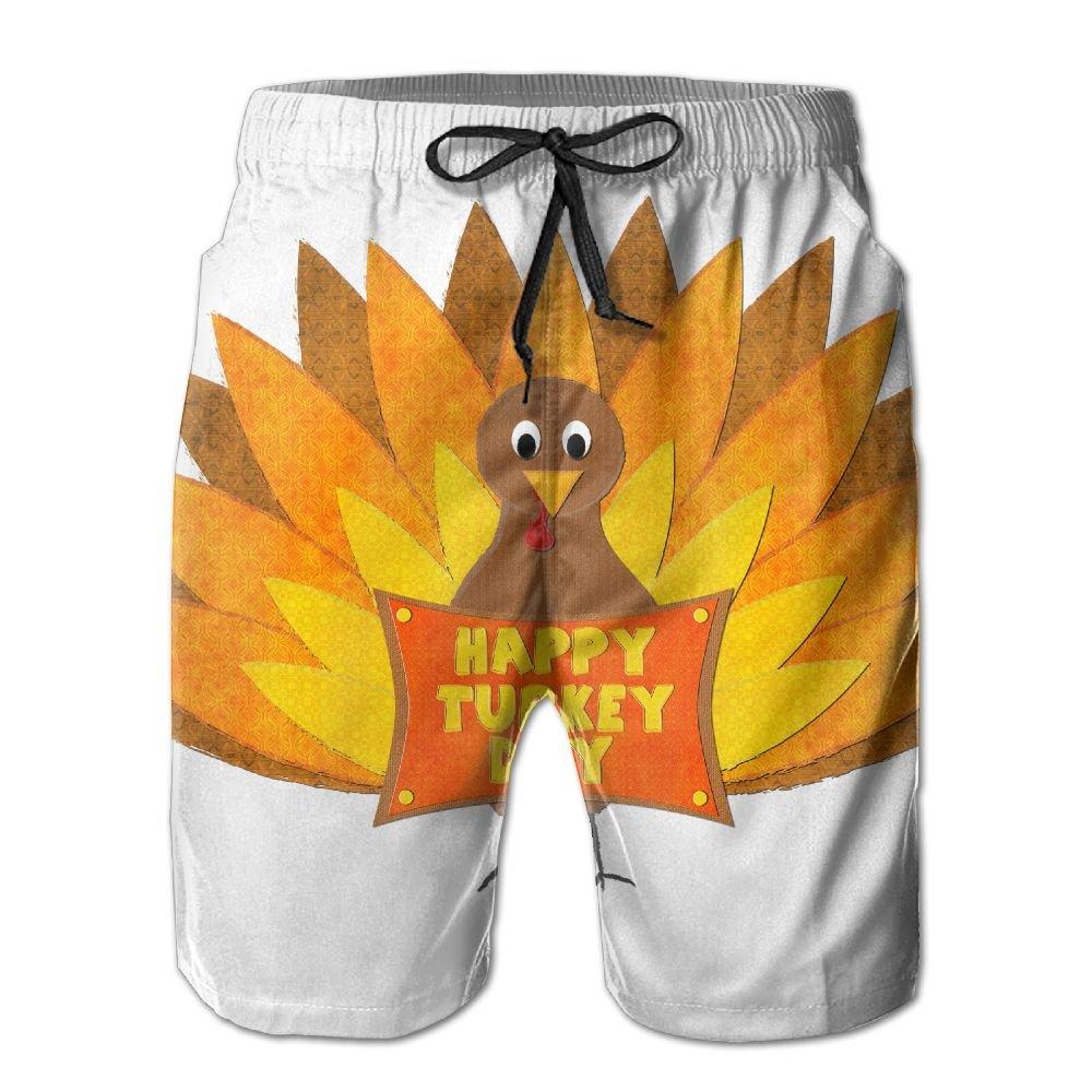 Mens Happy Turkey Day Pattern Shorts Elastic Waist Pockets Lightweight Beach Shorts Boardshort