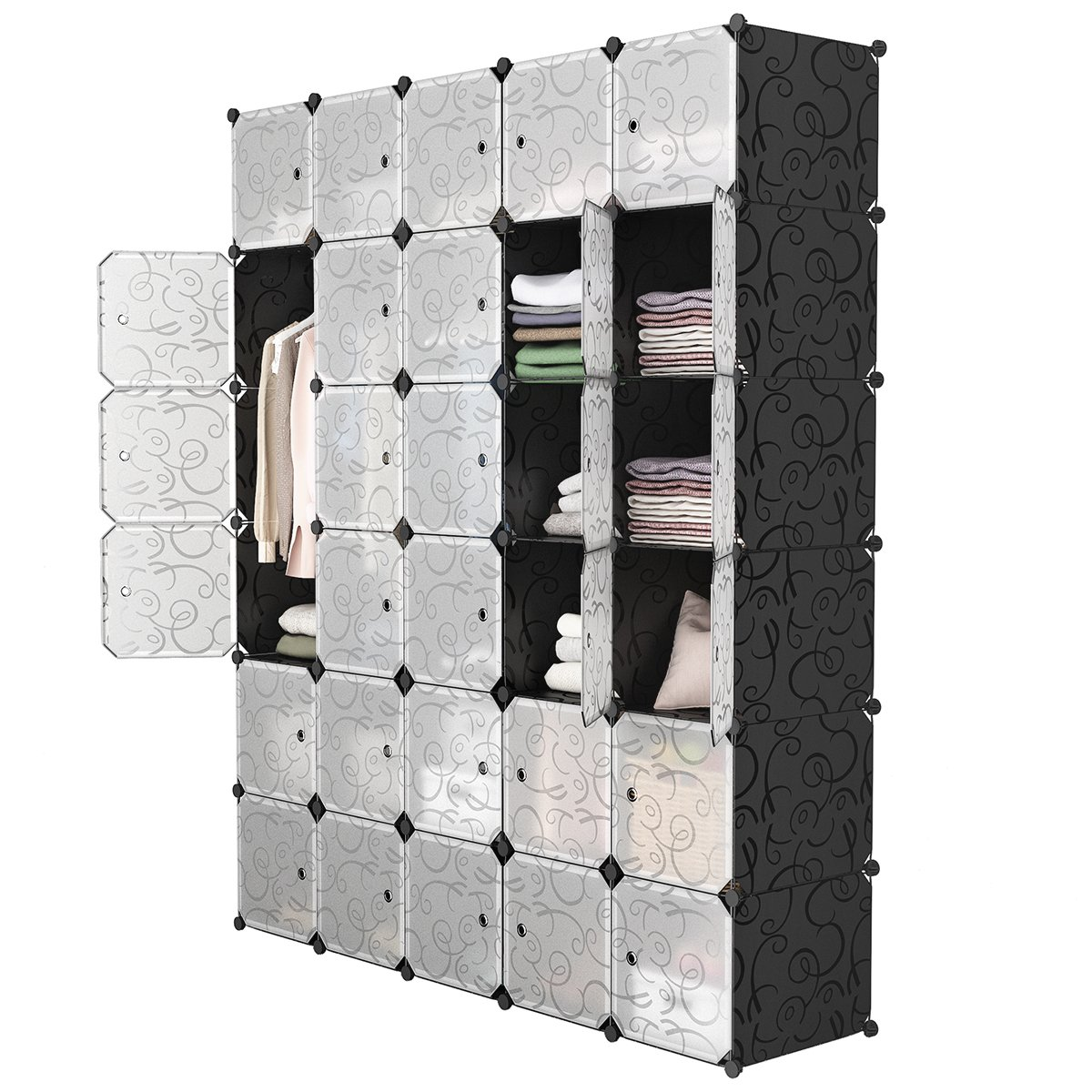 LANGRIA 30-Cube DIY Modular Shelving Storage Organizer Extra Large Wardrobe with Clothes Rod, Furniture for Clothes (Patterned Black)