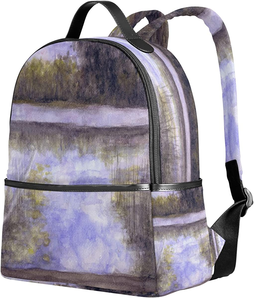 Mr.Weng Watercolor Landscape Printed Canvas Backpack For Girl and Children